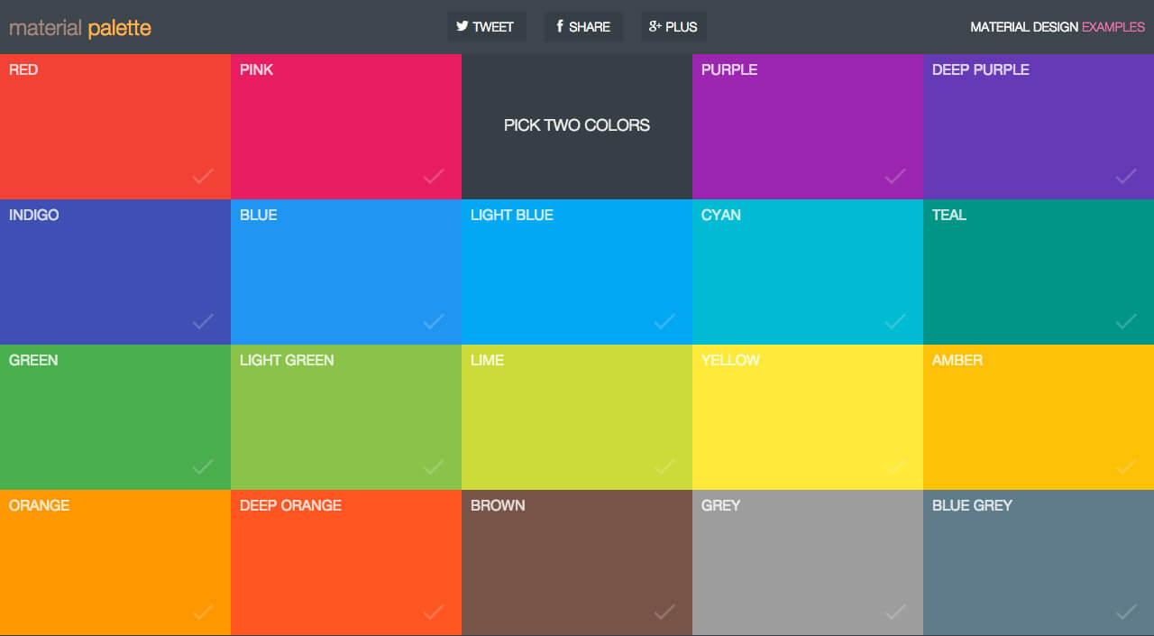 Material design colour palette