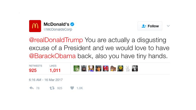 McDonalds Tweet Trump